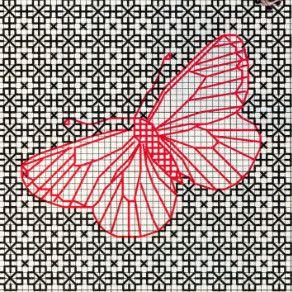 Бабочка в стиле блэкворк