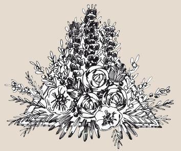 Вышивка лентами: Треугольник с цветками