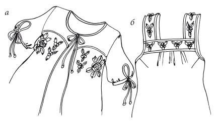 Вышивка лентами. Ночная Рубашка И Пеньюар С Розочками