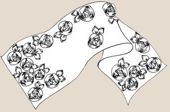 Вышивка лентами. Палантин с розами