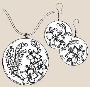 Вышивка лентами Кулон и серьги Весенние цветы
