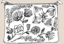 Вышивка лентами - Косметичка на лугу