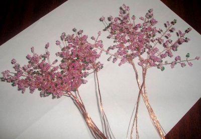 Цветущая сакура из бисера Шаг 5