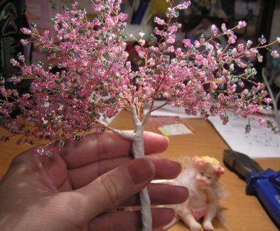 Цветущая сакура из бисера Шаг 11