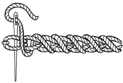 Рисунок 13. Тамбурный шов «цепочка» с обметкой