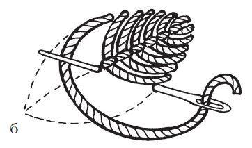 Рисунок 21. Летящий стежок: б) заполнение стежками листика